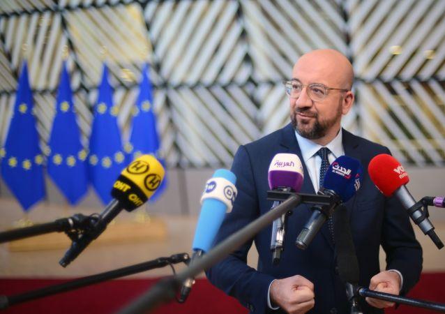 Przewodniczący Rady Europejskiej Charles Michel na szczycie UE w Brukseli