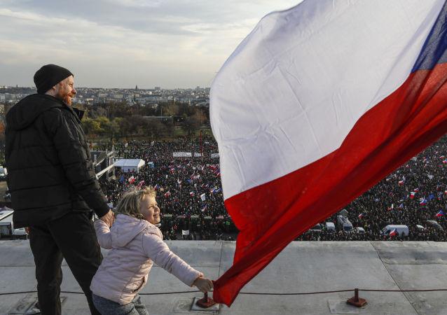 Protest antyrządowy w Pradze