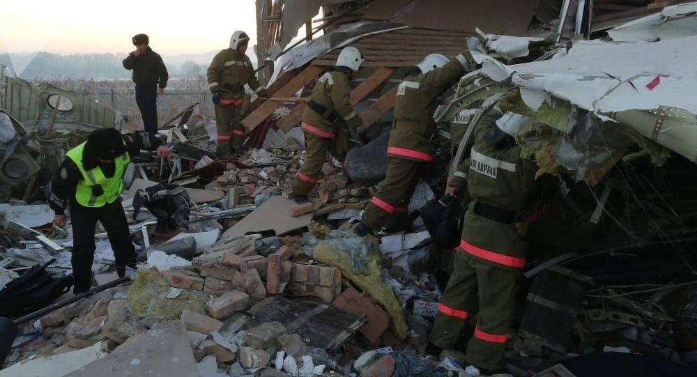 Miejsce katastrofy samolotu w Kazachstanie