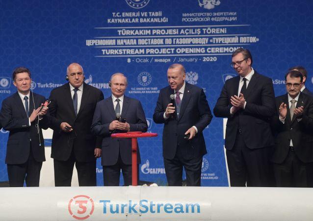 Prezydent Rosji Władimir Putin i prezydent Turcji Recep Tayyip Erdogan na oficjalnej uroczystości uruchomienia Tureckiego Potoku