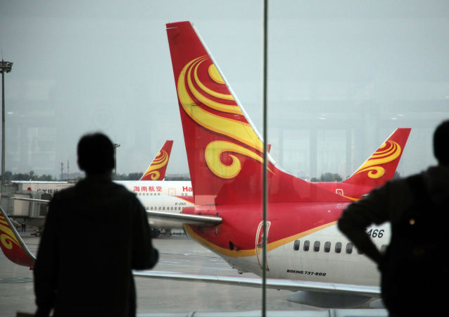 Samoloty chińskiej linii lotniczej Hainan Airlines na lotnisku Haikou, Chiny