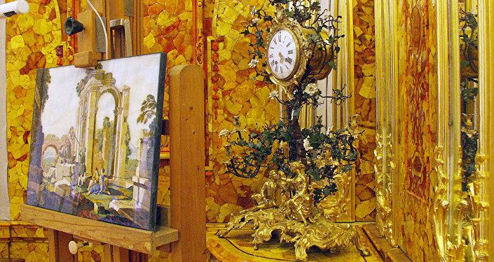 Odtworzona Bursztynowa komnata, pałac Katarzyny w Carskim Siole