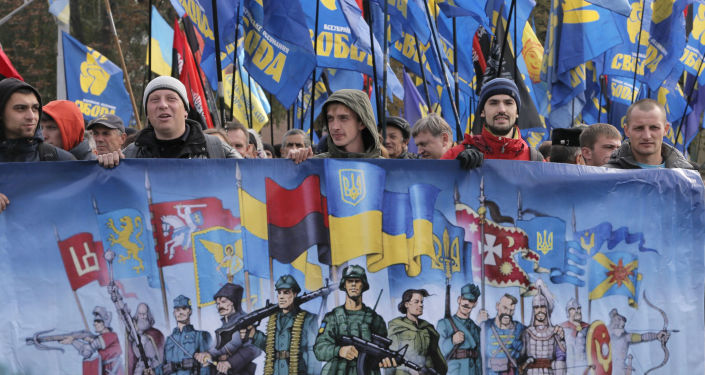 Wiec w Kijowie z okazji Dnia Obrońcy