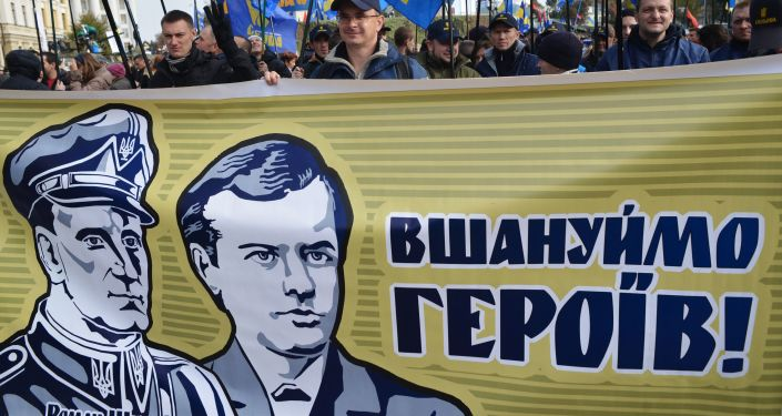 Uczestnicy Marszu bochaterów w Kijowie