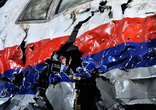 Część wraku samolotu Boeing 777 Malaysia Airlines