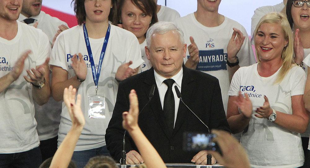 Były premier Jarosław Kaczyński po zwycięstwie w wyborach w Polsce