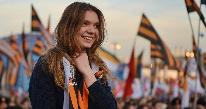 Na wiec z okazji przyłączenia Krymu do Rosji w Moskwie zebrało się ponad 110 tys. osób