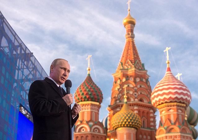 Władimir Putin podczas koncertu w Moskwie18 marca 2015
