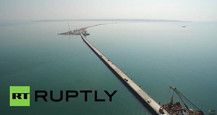 Dron nagrał most na Krym