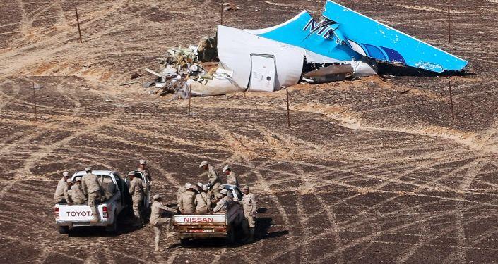 Miejsce katastrofy rosyjskiego samolotu pasażerskiego Airbus A321 w Egipcie