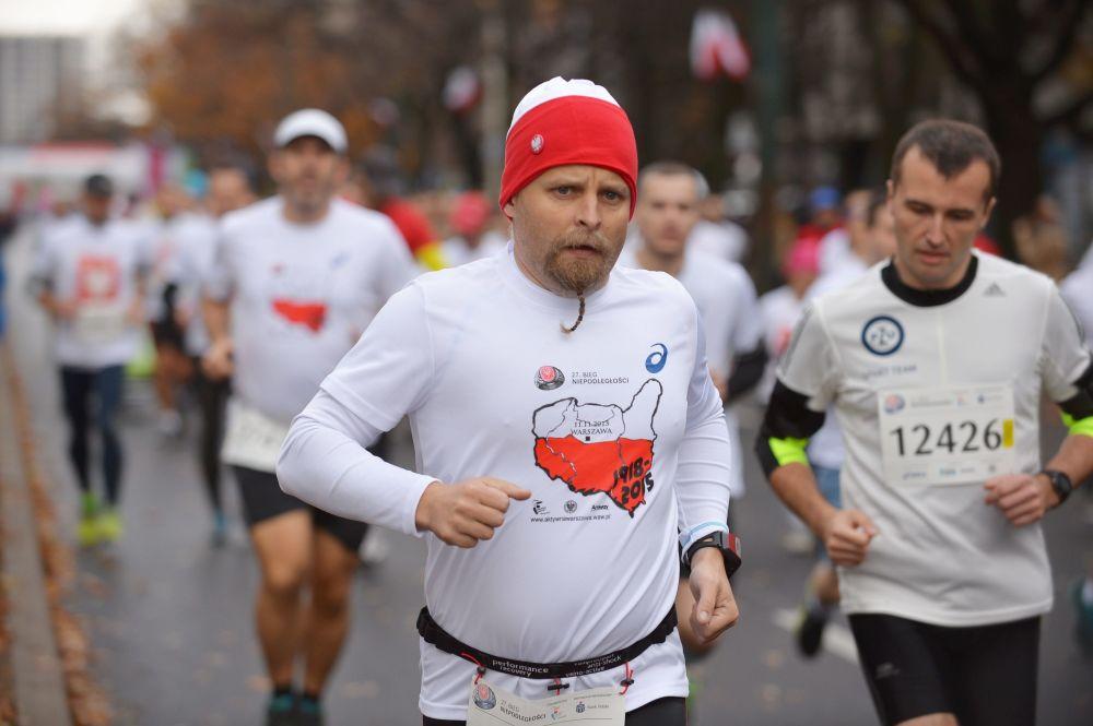 Uczestnicy maratonu w ramach Dnia Niepodległości, 11 listopada 2015 r.