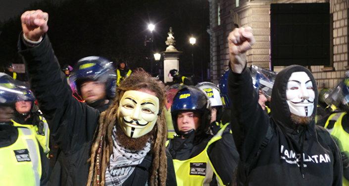 Demonstracja Anonymousów, Londyn 5 listopada 2015