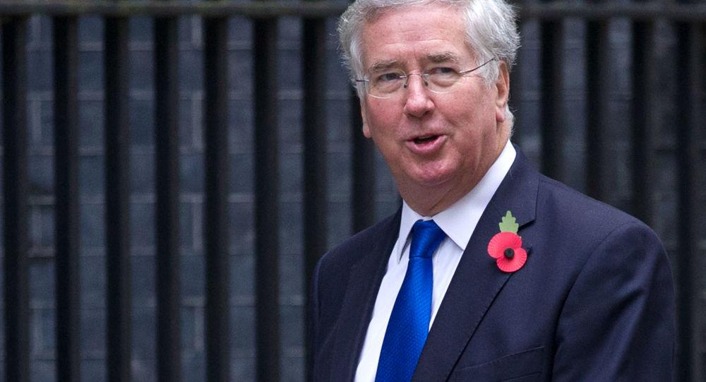 Minister obrony Wielkiej Brytanii Michael Fallon w Londynie