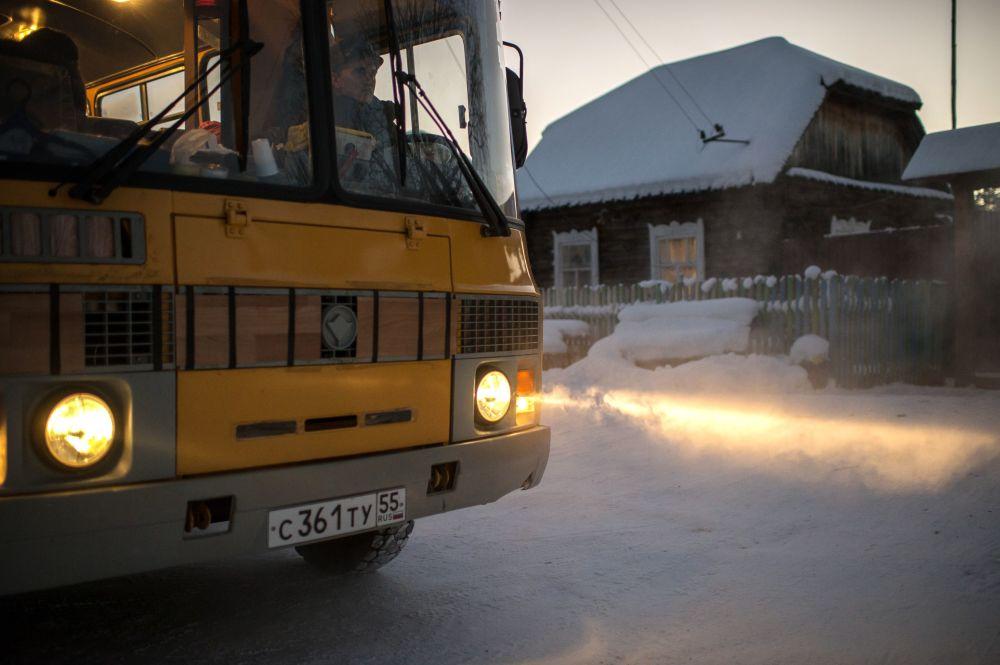 Autobus w miejscowości Bobrowka w obwodzie omskim