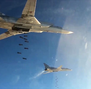 Bombowce rakietowe Tu-22 rosyjskich sił powietrznych podczas nalotów na cele PI w Syrii