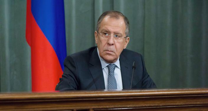 Minister spraw zagranicznych Rosji Siergiej Ławrow na konferencji prasowej w Moskwie