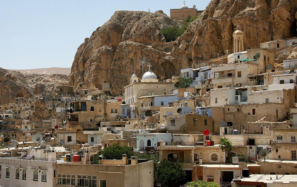 Widok na chrześcijańską wieś Maalula w odległości 60 km. od Damaszku