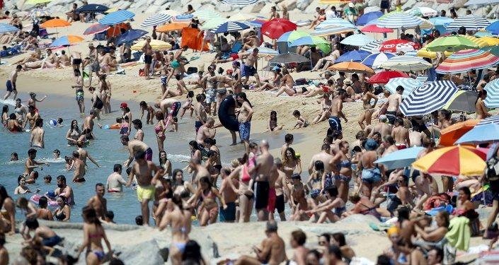 Plaża w pobliżu Barcelony w Hiszpanii