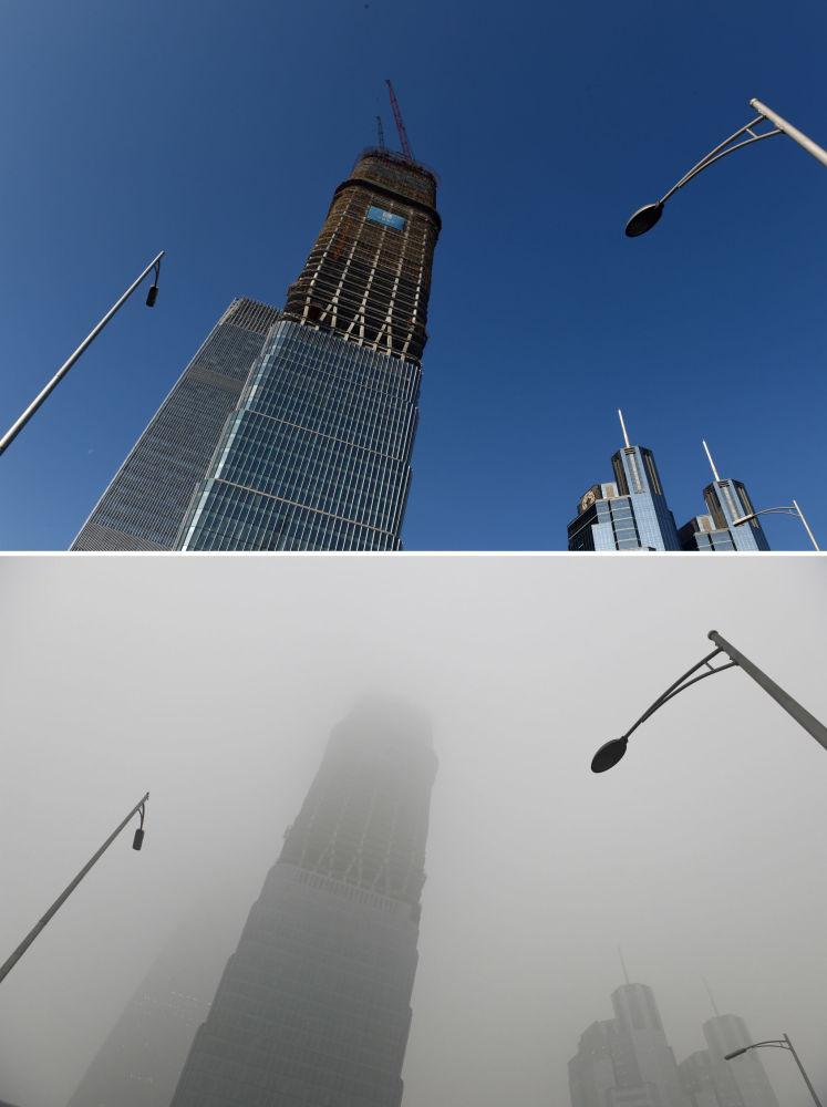 Wieżowiec w Chinach przed i po smogu