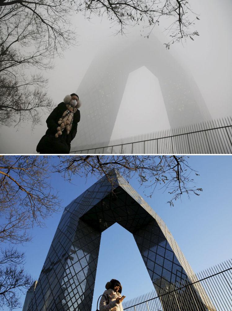 Siedziba CCTV w Chinach przed i po smogu
