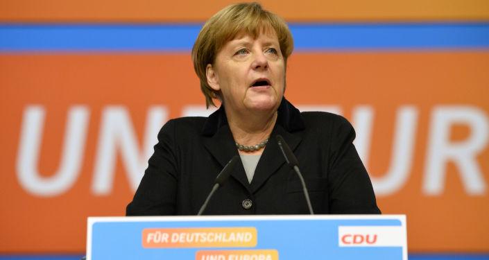 Kanclerz Niemiec Angela Merkel podczas zjazdu partii Unii Chrześcijańsko-Demokratycznej