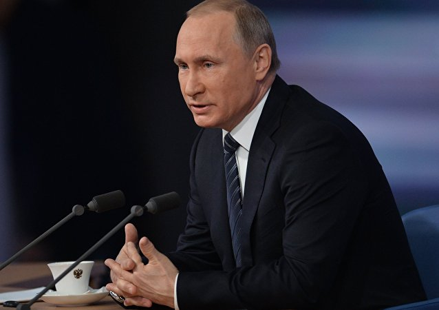 December 17, 2015. Russian President Vladimir Putin at the 11th annual news conference at the World Trade Center on Krasnaya Presnya
