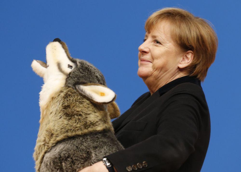 Kanclerz Niemiec Angela Merkel z pluszowym wilkiem