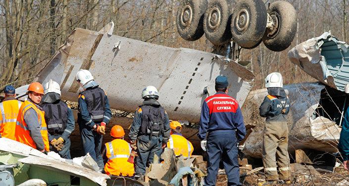 Na miejscu katastrofy samolotu prezydenckiego pod Smoleńskiem