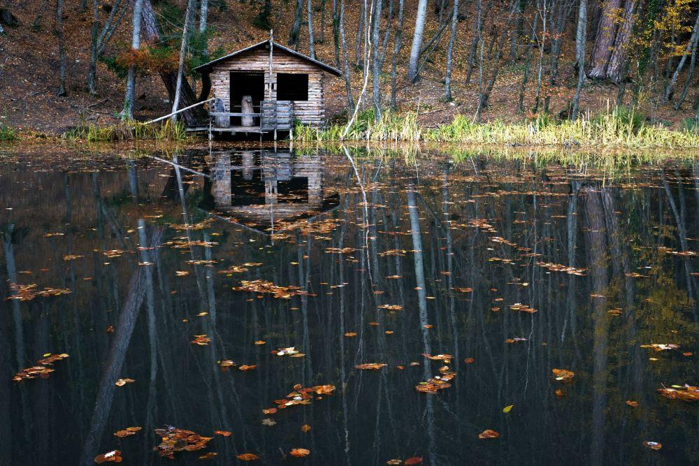 Leśne jezioro przy drodze prowadzącej na Aj-Petri w okolicach Jałty.