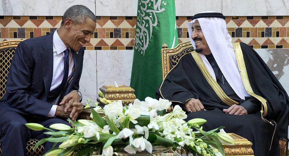 Prezydent USA Barack Obama i król Arabii Saudyjskiej Salman ibn Abd al-Aziz Al Su'ud