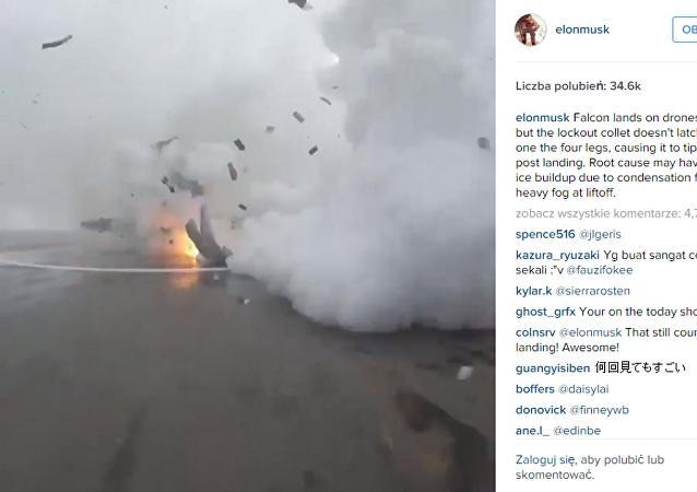 Założyciel SpaceX opublikował nagranie nieudanego lądowania stopnia Falcon 9