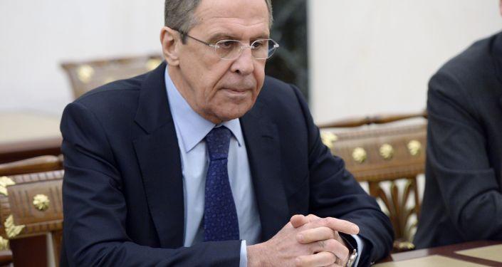 Minister spraw zagranicznych Rosji Siergiej Ławrow na naradzie prezydenta Rosji Władimira Putina ze stałymi członkami Rady Bezpieczeństwa Rosji na Kremlu.
