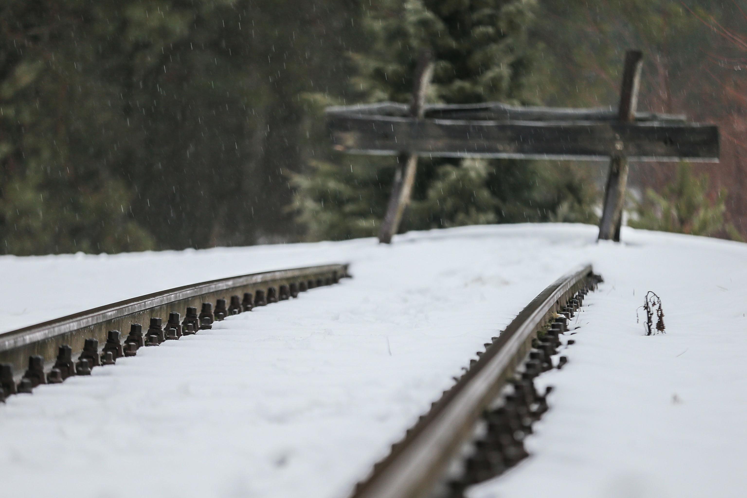 Bocznica kolejowa stacji Sobibór - miejsce rozładunku więźniów niedaleko obozu zagłady w Polsce