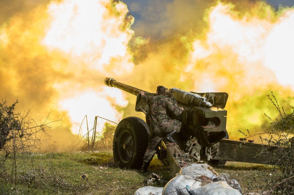 Syryjska armia w prowincji Idlib na północnym wschodzie Syrii