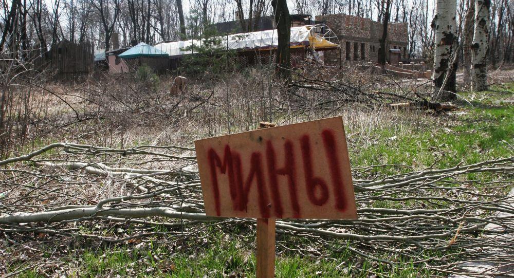 """Tabliczka z napisem """"miny"""" w okolicach Doniecka"""