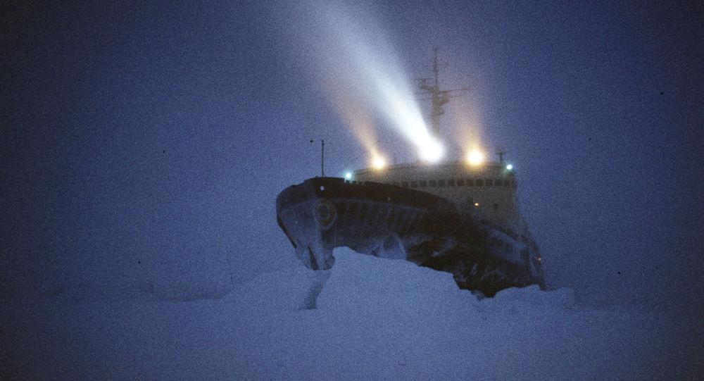 Lodołamacz Władywostok na Antarktydzie