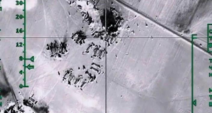 Zniszczenie przez rosyjskie siły powietrzne magazynów z ropą naftową należących do Daesh w prowincji Aleppo