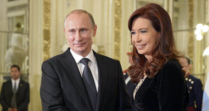 Prezydent Rosji Władimir Putin i Prezydent Argentyny Christina Fernandez de Kirchner