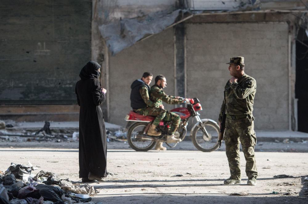 Mieszkalna dzielnica w Aleppo w Syrii