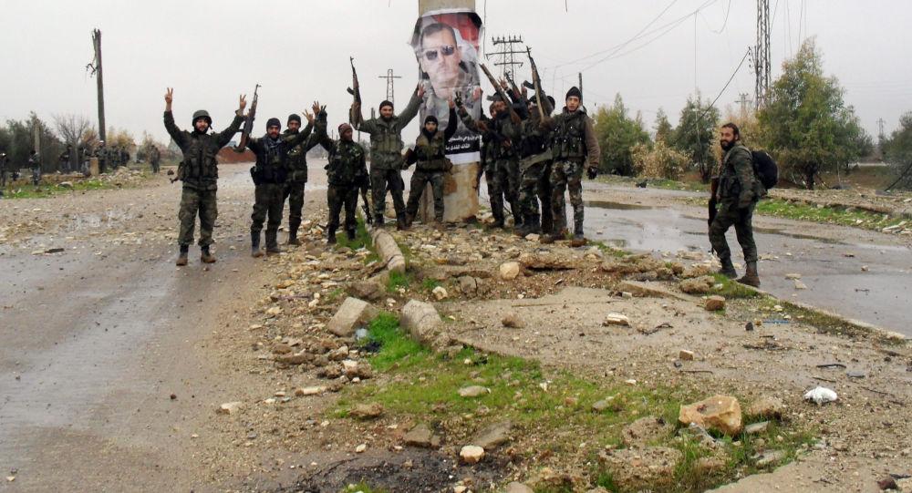 Syryjscy żołnierze rządowi w pobliżu miasta Sheikh Miskin w prowincji Dara