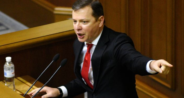 Lider Radykalnej Partii Ołeh Laszko na posiedzeniu Rady Najwyższej w Kijowie