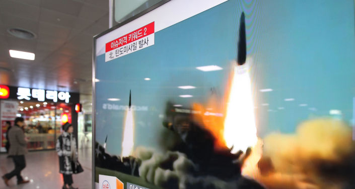 Start rakiety w Korei Północnej, emitowany w telewizji w Seulu