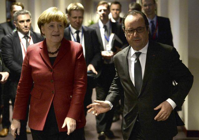 Kanclerz Niemiec Angela Merkel i prezydent Francji Francois Hollande w Brukseli