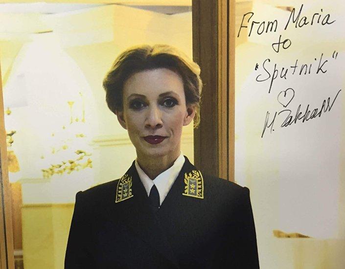 Autograf rzeczniczki MSZ Rosji Marii Zaсharowej dla Sputnika