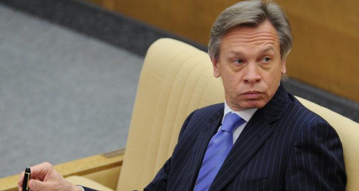 Przewodniczący komisji do spraw międzynarodowych Dumy Państwowej Aleksiej Puszkow