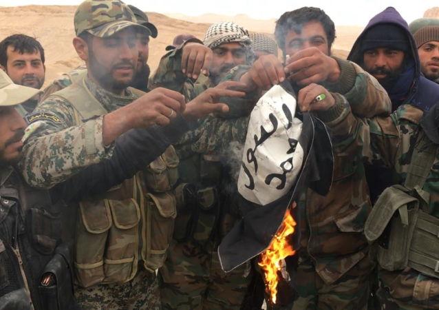 Syryjscy żołnierze palą flagę Państwa Islamskiego