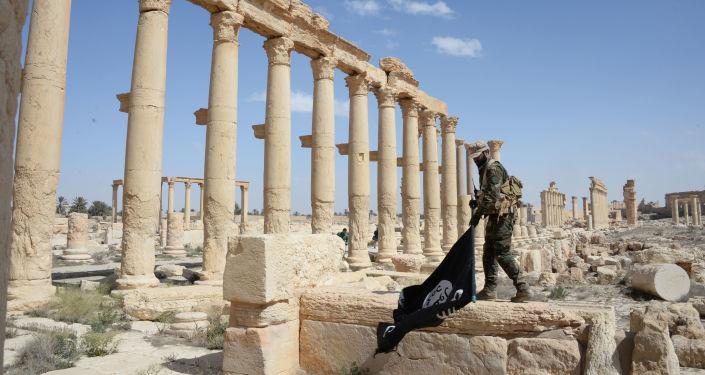 """Żołnierz z formacji """"Sokoły Pustyni"""" z flagą DAESH w historycznej części Palmyry"""
