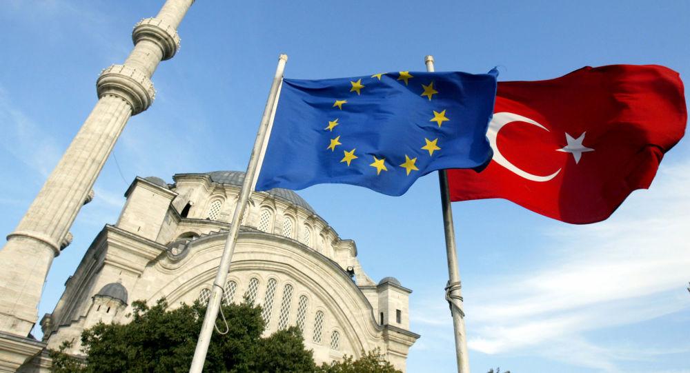 Flagi UE i Turcji