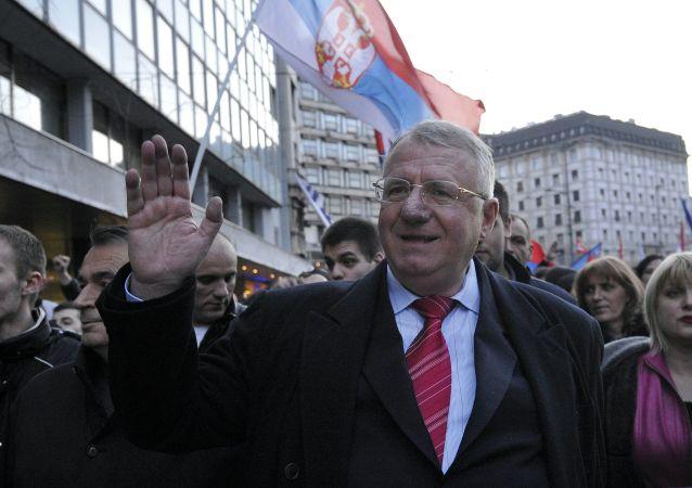 Lider Serbskiej Partii Radykalnej Vojislav Šešelj w Belgradzie