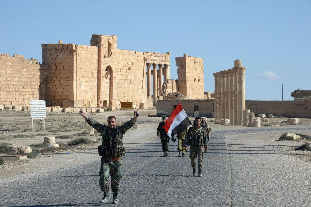 Bojownicy powstańczego oddziału Sokoły Pustyni w wyzwolonej Palmirze